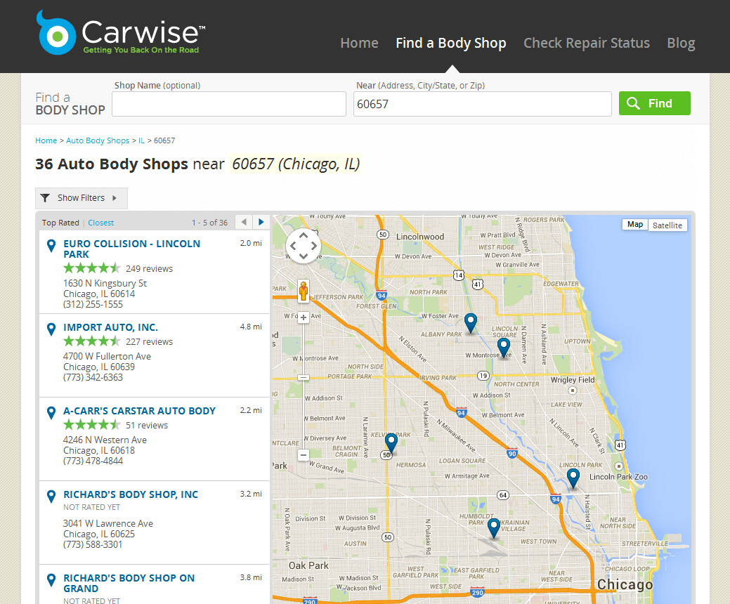 Carwise search results
